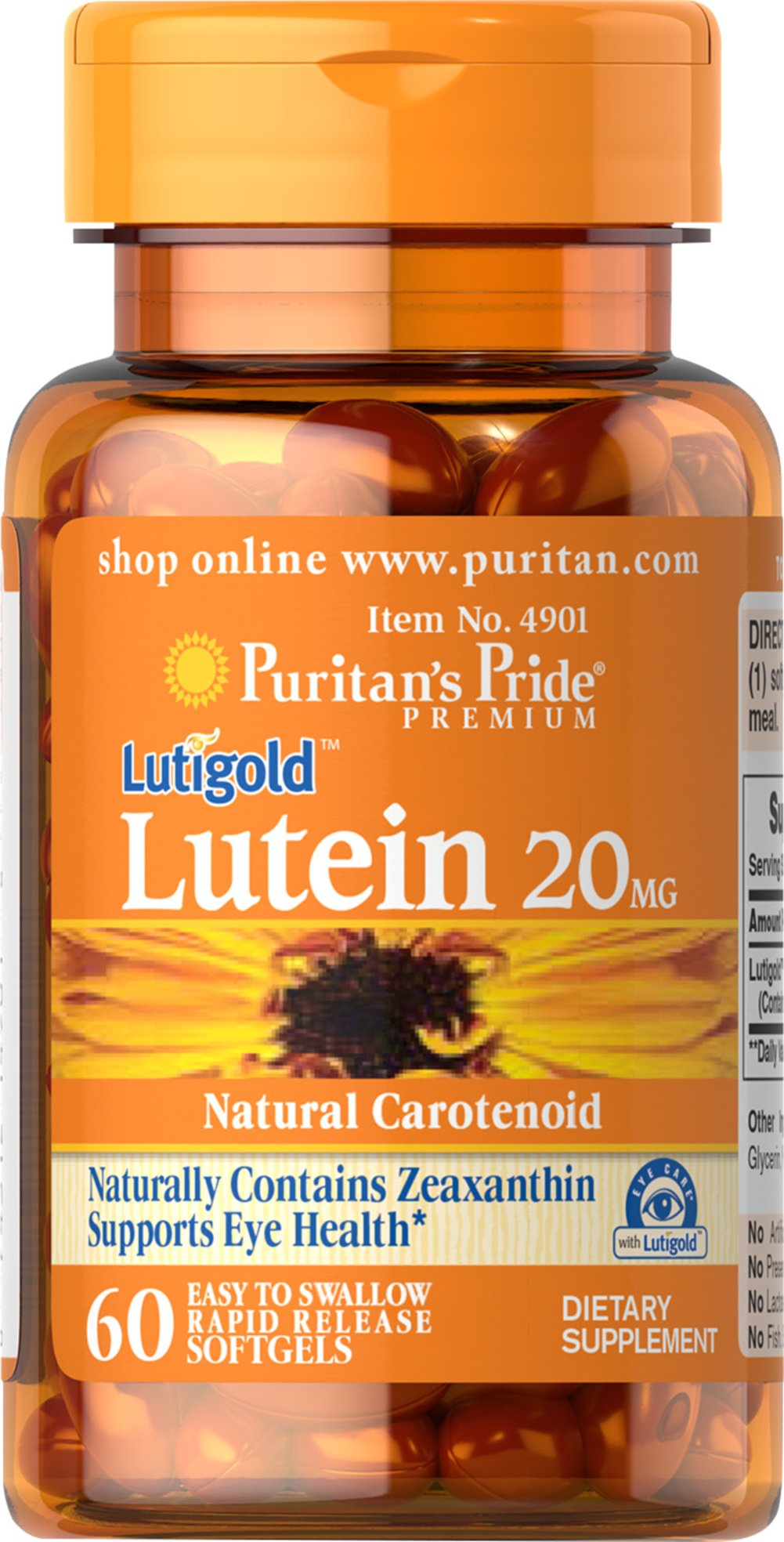 Lutein 20 mg with Zeaxanthin  60 Softgels 20 mg $13.59