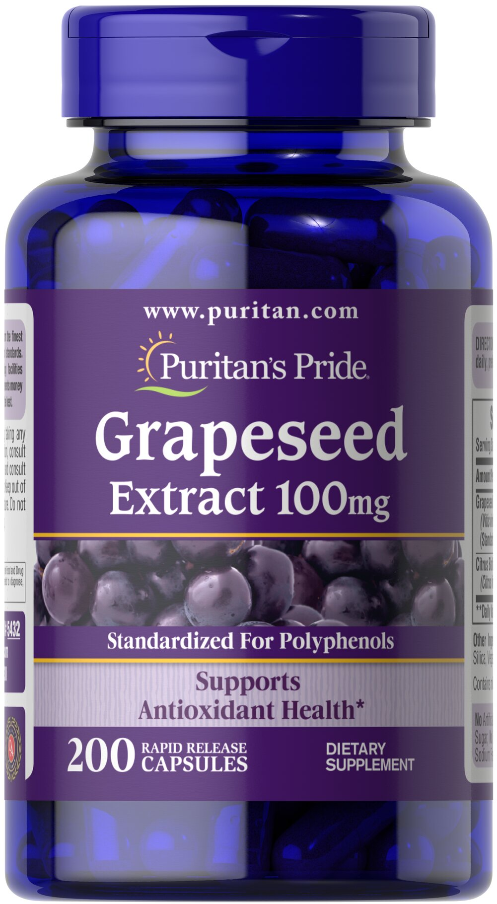 Grapeseed Extract 100 mg <p><strong></strong>Grapeseed Extract helps support antioxidant health.** Antioxidants are nutrients that help to counter the destructive nature of free radicals and assist in maintaining good health.** Grapeseed extract contains oligomeric proanthocyanidins (OPCs), which are naturally occurring bioflavonoids. Standardized to contain 50% Polyphenols. Adults can take one capsule three times daily.</p> 200 Capsules 100 mg $8.24