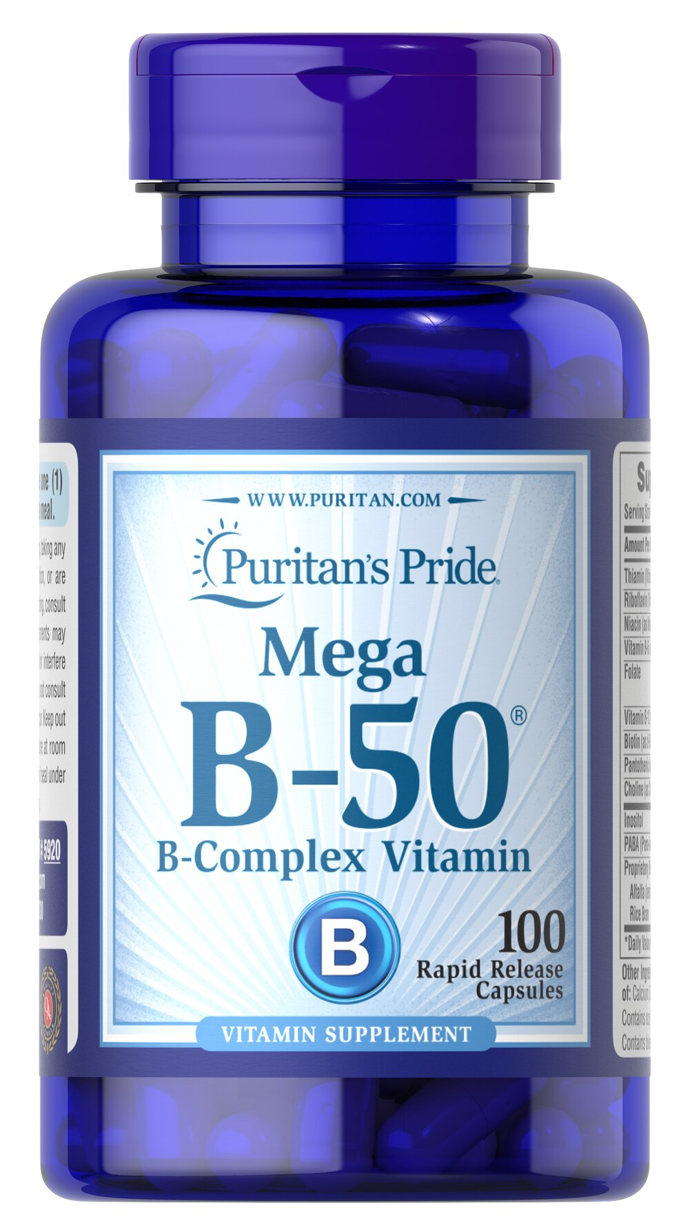Vitamin B-50® Complex <p>The Vitamin B-50® Complex is made up of several vitamins that work well together to support nervous system health.** B Complex vitamins also promote energy metabolism.** Each nutrient in the Vitamin B Complex performs a unique role in maintaining proper metabolic functioning and is essential for well being.**</p> 100 Capsules 50 mg $17.49