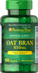 Oat Bran 850 mg <p>Some people just don't like the flavor of Oat Bran and others find many of the Oat Bran foods on the market very expensive.  Our Oat Bran tablets are a convenient, inexpensive way to add a healthy food to your diet!  Available in (850 mg) Tablets.</p> 100 Tablets 850 mg $7.29