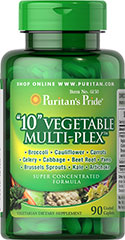"""10"" Vegetable Multi-Plex™ <p>Each tablet provides (500 mg.) freeze dried concentrates of the following vegetables: Broccoli, Celery, Cauliflower, Cabbage, Brussels Sprouts, Yams, Carrots, Kale, Beet Root and Artichoke.</p><p>Contains concentrates of cruciferous vegetables, which are natural sources of indole-3-carbinol.</p><p></p> 90 Caplets 500 mg $16.49"