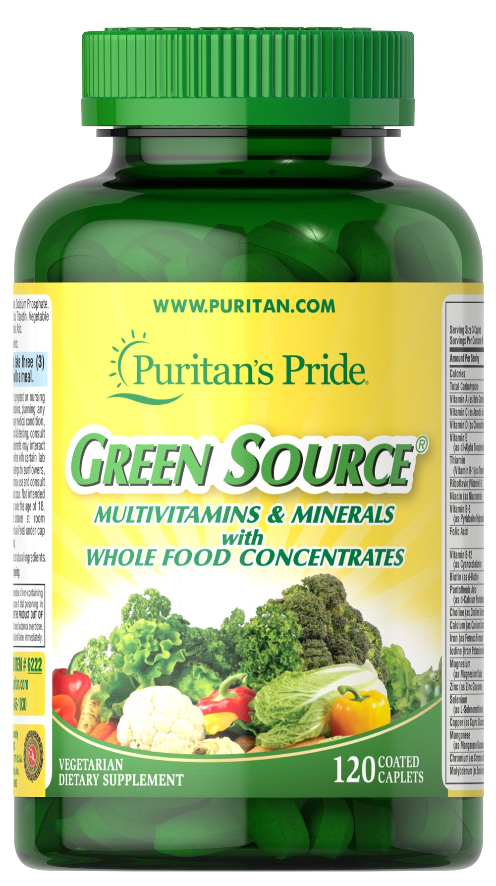 Green Source® Multivitamin & Minerals <p>This concentrated formula contains potent food source nutrients to provide essential vitamins, minerals, enzymes and amino acids. It also provides all the naturally occurring active constituents of whole foods.</p> 120 Caplets  $35.99