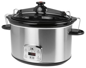 "Stainless Steel 8 Qt Digital Slow Cooker with Locking Lid <p><strong>From the Manufacturer:</strong></p><p>The Kalorik Stainless Steel 8 Qt. Digital Slow Slow Cooker does all of the cooking for you—it's as easy as adding your ingredients, adjusting the settings, and pushing the start button! Create anything from hearty soups and stews to burritos, pasta dishes, roasts, and chili. Use the slow cooker's ""Low"" setting when you want to slowly simmer foods throughout the"