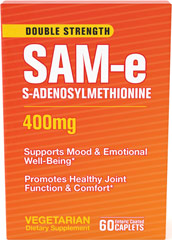 SAM-e 400 mg <p>Science has been looking into this remarkable supplement and time after time clinical studies have drawn the same conclusions, SAM-e:</p><p>Promotes healthy joint function and comfort**</p><p>Boosts mood and emotional well-being**</p> 60 Caplets 400 mg $93.99