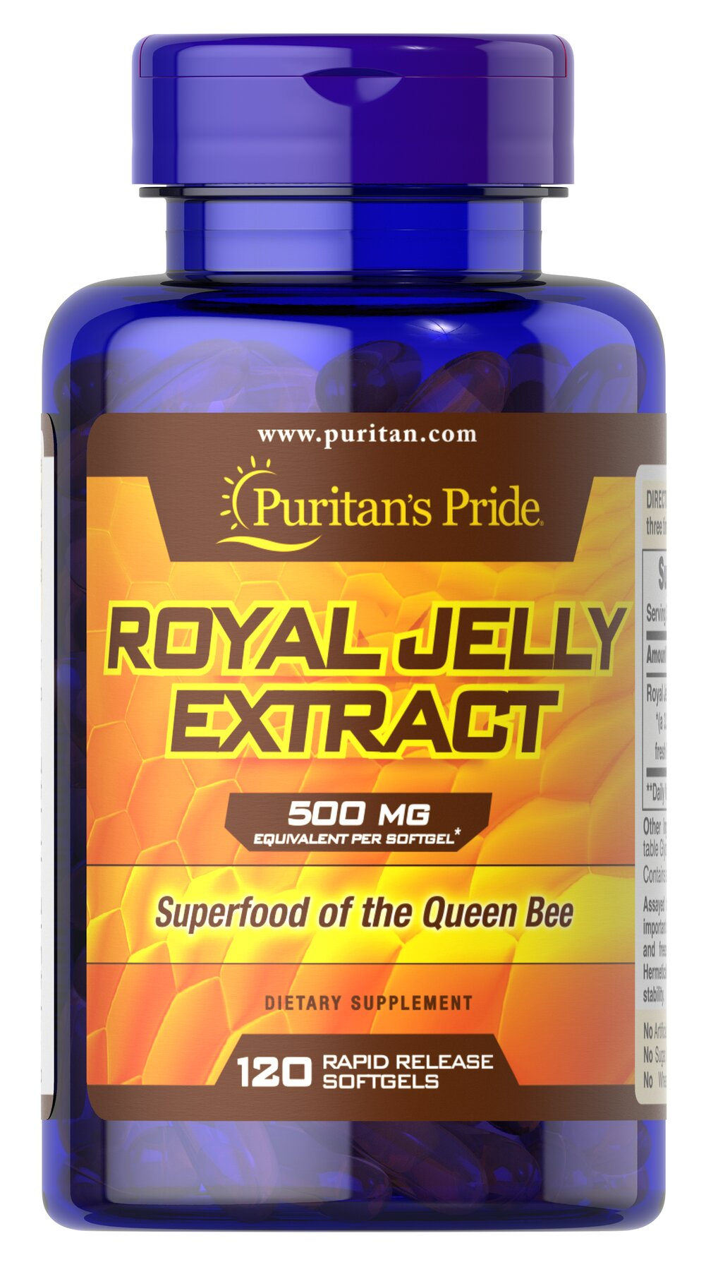 Royal Jelly 500 mg <p>Our Royal Jelly is a highly complex substance secreted from the glands of nursing bees and fed to the larvae destined to be queens. The queen eats Royal Jelly exclusively throughout her life, which can be considerable since she grows much larger and lives much longer than the average worker bee. Royal Jelly contains the natural factor, 10-Hydroxy-2-Decenoic Acid (10-HDA).</p> 120 Softgels 500 mg $21.99