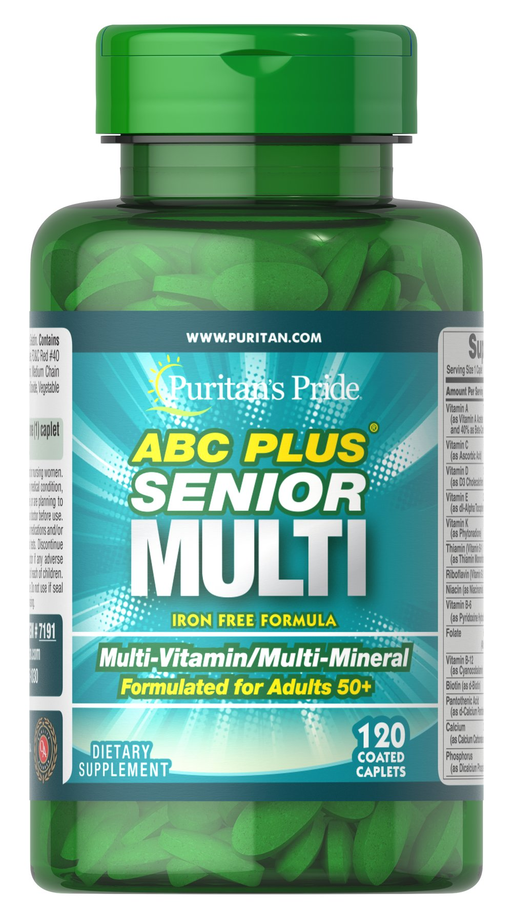 ABC Plus® Senior Multivitamin Multi-Mineral Formula <p>A special high-quality blend of vitamins and minerals formulated exclusively for adults 50 and over; delivers 100% or more daily values of Vitamins C, D, E, B-2, Niacin, Folic Acid and B-12. This is an iron-free, heart-healthy supplement. ** Compare and save!</p> 120 Caplets  $16.99
