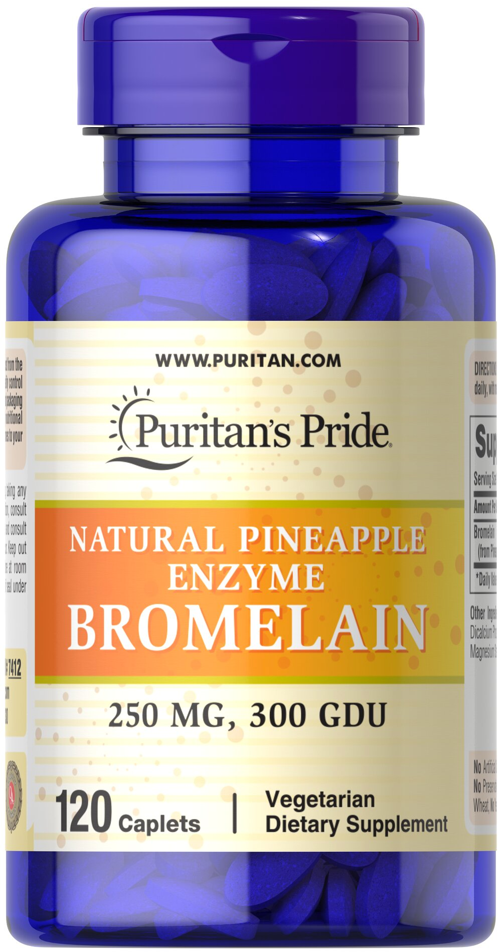Bromelain 500 mg 300 GDU/gram <p>Derived from the stems of pineapple, Bromelain is a natural digestive enzyme.** </p><p>As a natural enzyme, Bromelain helps digest protein in the gastrointestinal tract.** </p><p>In general, enzymes break down the nutritional components of proteins, fats and carbohydrates, making these nutrients available for the body's energy needs, cell growth and other vital functions.**</p> 120 Caplets 500 mg $25.99