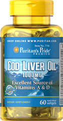 Cod Liver Oil 1000 mg <p>Norwegian cod has traditionally been one of the most popular natural sources of  <b>both Vitamins A & D</b>. </p> <p>Vitamin D helps maintain healthy bones in adults. ** </p>  <p>Vitamin A helps maintain eye health. **</p>  <p>Vitamins A & D help regulate the immune system.**</p>  60 Softgels 1000 mg $12.99