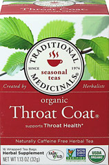 Organic Throat Coat Tea <p><strong>From the Manufacturer's Label: </strong></p><p>Traditional Throat Coat Tea bags is a caffeine free, herbal tea. Contains Licorice Root, Slippery Elm Bark, Marshmallow Root and a Proprietary Blend.</p> 16 Tea Bags  $9.99