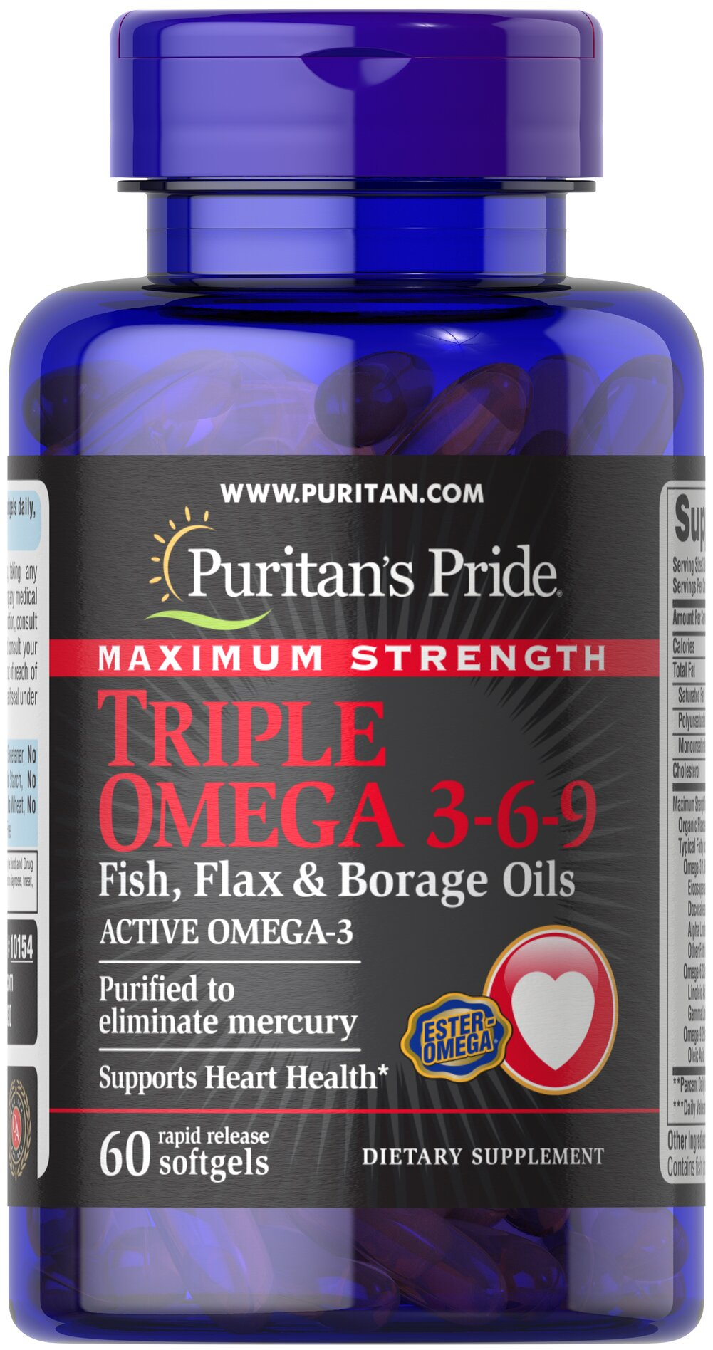 "Maximum Strength Triple Omega 3-6-9 Fish, Flax & Borage Oils Recent scientific research highlights the importance of getting Omega fatty acids. Fatty acids - Omega-3, Omega-6 and Omega-9 – are the ""good"" fats important for cellular, heart and metabolic health.** Some of these fatty acids are essential - meaning your body needs them but cannot make them. Essential Fatty Acids are required for the structure of all membranes in the body.**  Omega 3's help to regulate the production"