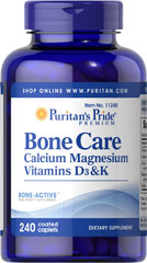 Bone Care <p>Our high quality Bone Care formula contains several ingredients that are important to bone health, including:</p> <p>1,200 mg of Calcium, enough to provide 120% of your daily value.**</p> <p>Vitamin D, a nutrient important for the maintenance of Calcium blood levels</p> <p>Vitamin K and Magnesium</p> 240 Coated Caplets  $28.49