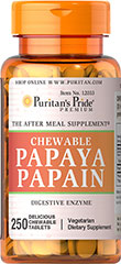 "Papaya Papain <p>THE AFTER MEAL SUPPLEMENT®</p><p>These delicious tablets are made from papain, an enzyme found in papaya fruit. As the perfect ""after meal"" supplement, papain is the ideal ending to a hearty meal. Sweetened with sucrose.</p> 250 Chewables  $13.39"