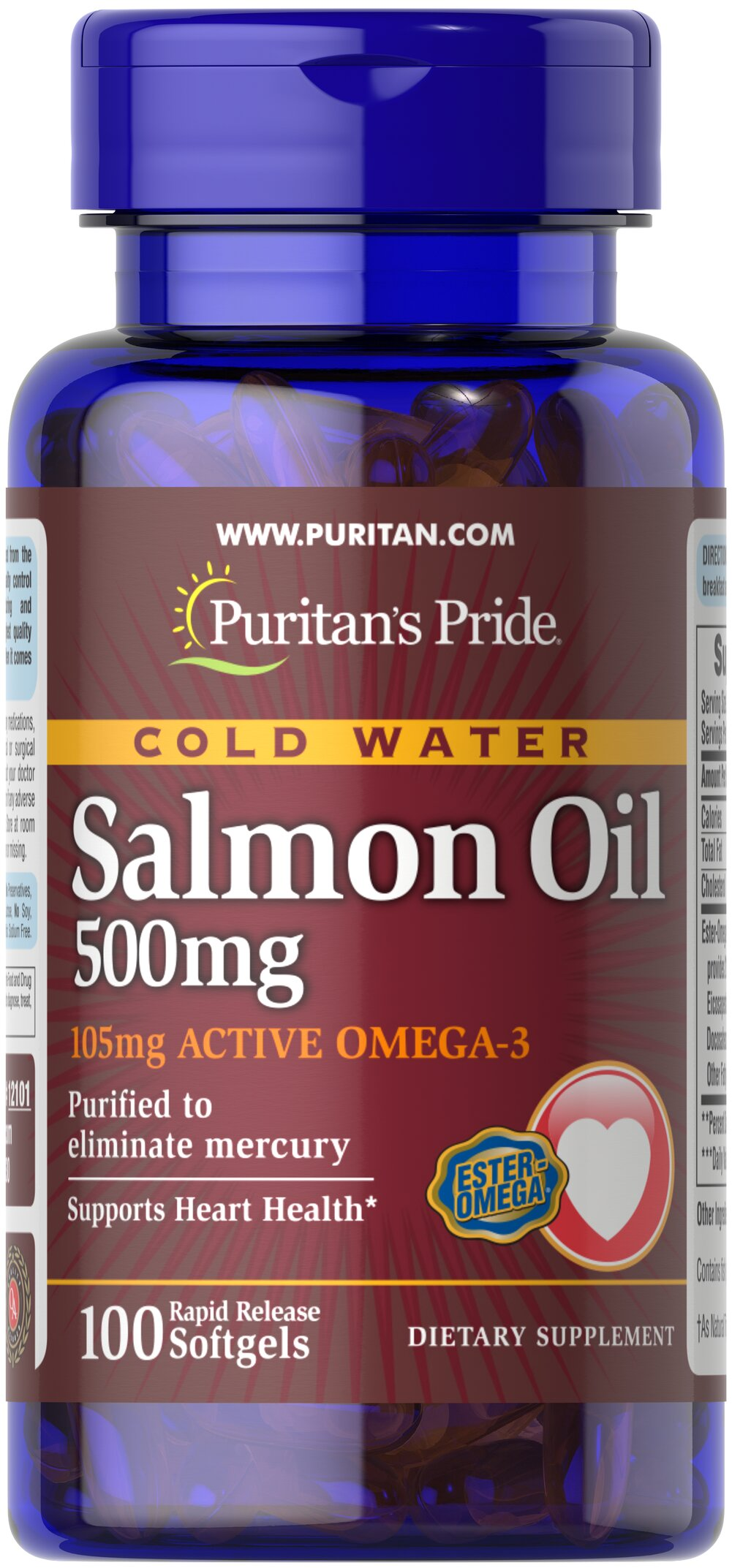 Omega-3 Salmon Oil 500 mg (105 mg Active Omega-3) <p><strong>Purified to Eliminate Mercury</strong></p><p>Puritan's Pride Salmon Oil contains the finest Salmon Oil available. Take two softgels two times a day to gain the essential fatty acids your body needs for good health.** Salmon contains a high concentration of Omega-3 fatty acids that have been shown to help promote metabolic, circulatory and heart health.**</p> 100 Softgels 500 mg $10.29