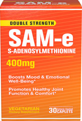 SAM-e 400 mg <p>Science has been looking into this remarkable supplement and time after time clinical studies have drawn the same conclusions, SAM-e:</p><p>Promotes healthy joint function and comfort**</p><p>Boosts mood and emotional well-being**</p> 30 Caplets 400 mg $47.99