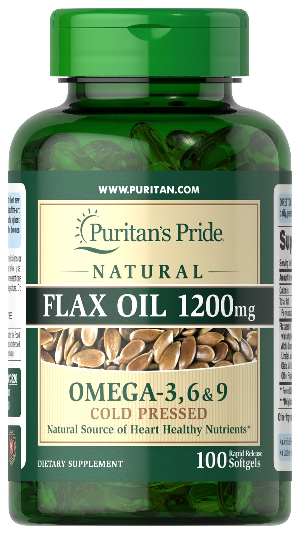 Natural Flax Oil 1200 mg <p>Flaxseed — one of the most concentrated vegetarian source of <strong>Omega-3 fatty acids</strong> found in nature — contributes to heart and while providing an energy source for the body.** Our high-quality natural <strong>Flaxseed Oil</strong> is dispensed and processed without solvents, under a nitrogen blanket and special yellow lights, then encased in a protective amber-colored gelatin shell to retain its integrity.</p> 100 Soft