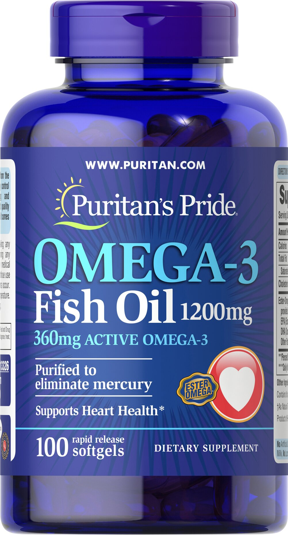 Omega-3 Fish Oil 1200 mg (360 mg Active Omega-3) <p><span></span></p>This Ester-Omega® Fish Oil provides 360mg of total omega-3 fatty acids, comprising of EPA, DHA and other fatty acids. EPA and DHA fatty acids support heart health.** Purified to eliminate mercury. Rapid release softgels. 100 Softgels 1200 mg $11.49