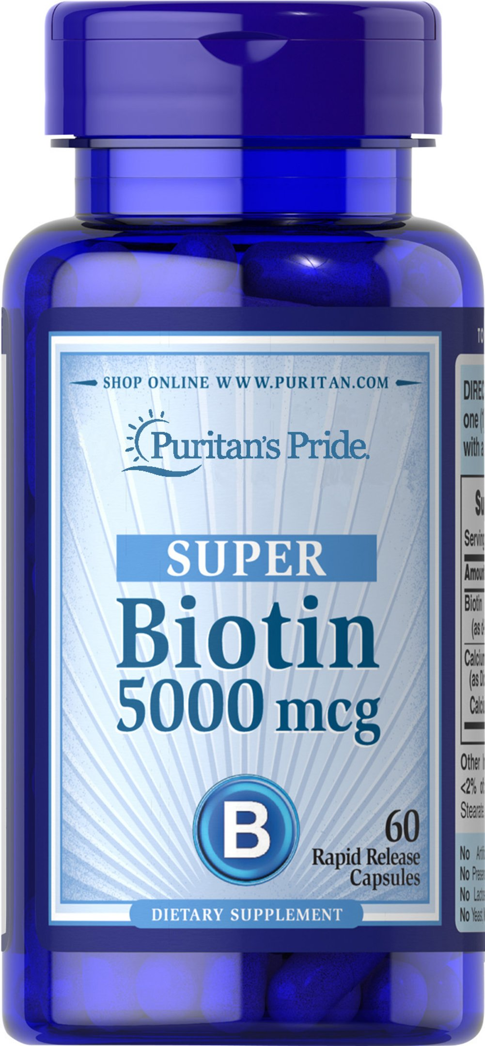 Biotin 5000 mcg <p>Supports Skin & Hair Health**</p><p>Found in foods such as oatmeal and soy, Biotin, a water-soluble B vitamin, assists in energy metabolism in cells.** Biotin helps to support healthy skin and hair.**</p> 60 Capsules 5000 mcg $5.99