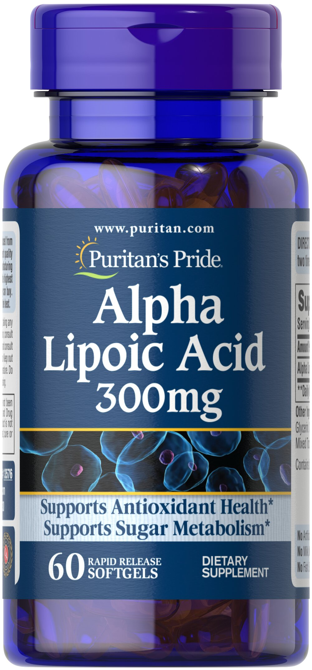 "Alpha Lipoic Acid 300 mg <p>Alpha Lipoic Acid (ALA) helps metabolize sugar, especially in muscles, where it promotes energy.**</p><p>ALA is also beneficial for liver health, and helps to revitalize the underlying structure of the skin so it can look healthier and more radiant.**</p><p>ALA is often called the ""universal antioxidant"" for its ability to help neutralize cell-damaging free radicals.** </p> 60 Softgels 300 mg $14.99"