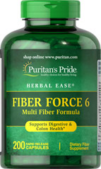 Fiber Force 6 <p>Fiber Force 6 adds roughage to the diet, which is important for digestion and elimination. Fiber Force 6 is a good dietary source of fiber and helps alleviate occasional constipation and maintain regularity.** As a daily addition to your diet, one serving of Fiber Force 6 contributes up to 4 grams of the fiber you need daily to maintain good dietary health.**</p> 200 Capsules  $35.99