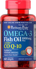 Omega-3 Fish Oil 1000 mg Plus Co Q-10 <p>Omega-3 Fish Oil 1000 mg Plus Co Q-10 30 MG is Purified to eliminate mercury and supports Heart Health**</p> 60 Softgels 1000 mg $13.85