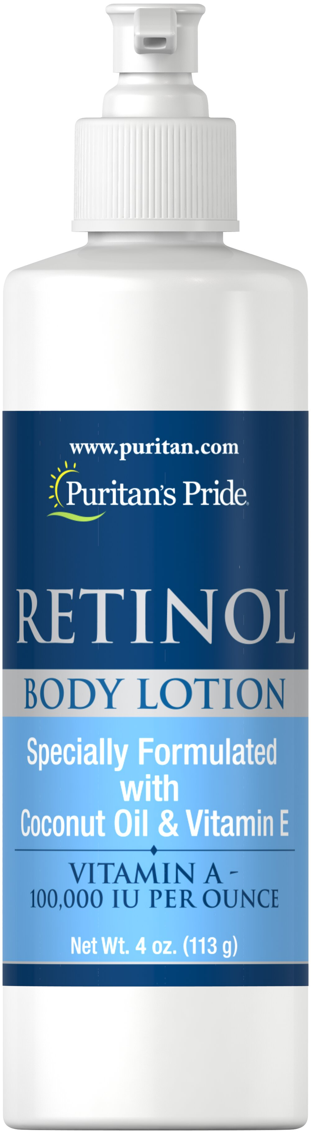 Retinol Body Lotion (Vitamin A 100,000 IU Per Ounce) <p>Vitamin A 100,000 IU per Ounce </p><p>Vitamin A is probably the most important skin vitamin for the appearance of the skin. Vitamin A is also one of the few vitamins that can be absorbed through the skin to provide direct benefits. Let your skin take advantage of the benefits of Vitamin A Lotion.</p> 4 oz Lotion 100000 IU $13.39