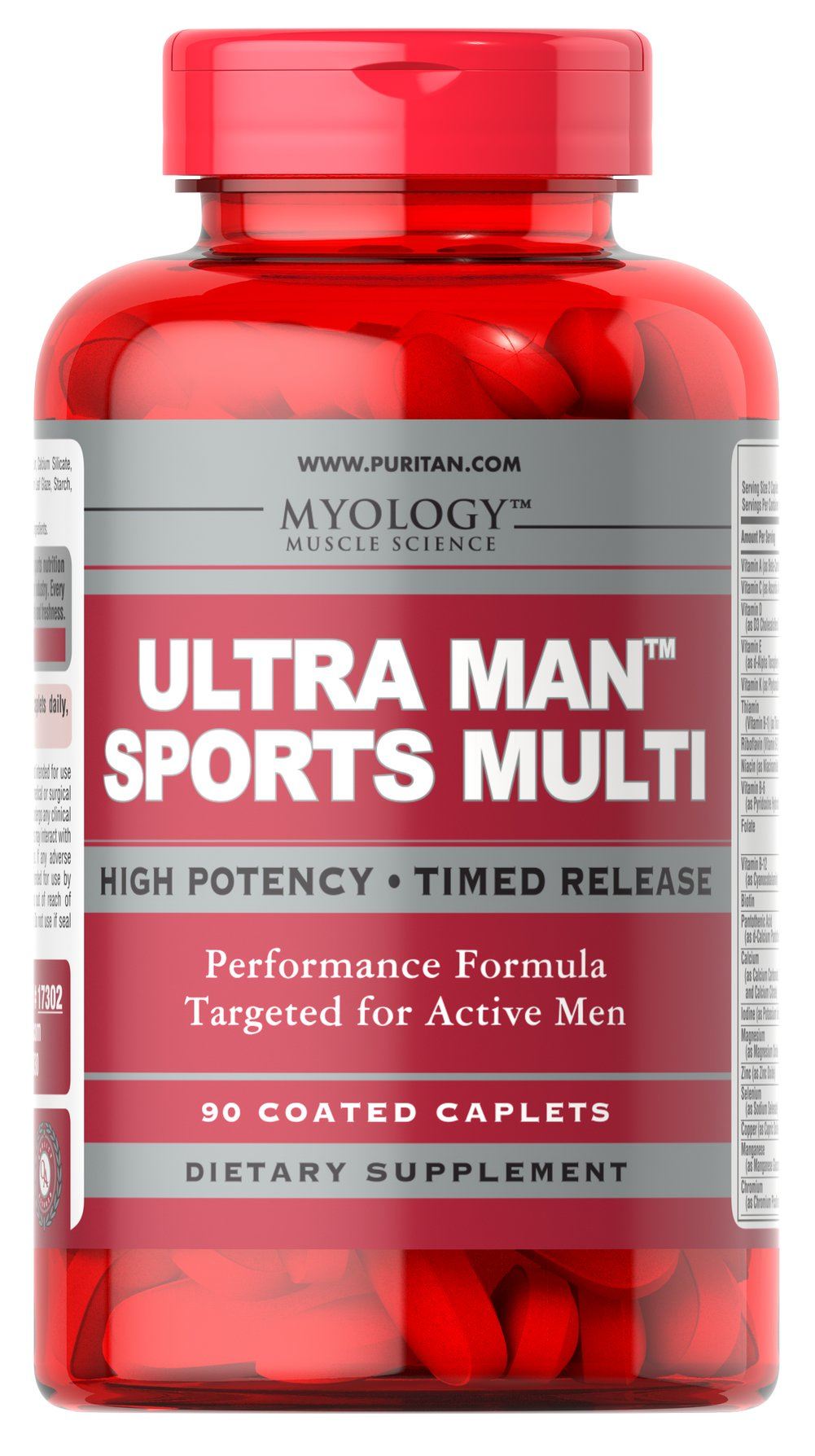 "Ultra Man™ Sports Multivitamins <ul><li><span style=""font-family:'Arial','sans-serif';color:black;"">Comprehensive male multivitamin performance formula.</span></li><li><span style=""font-family:'Arial','sans-serif';color:black;"">Timed release caplets provide extended delivery.</span></li><li><span style=""font-family:'Arial','sans-serif';color:black;"">Supp"
