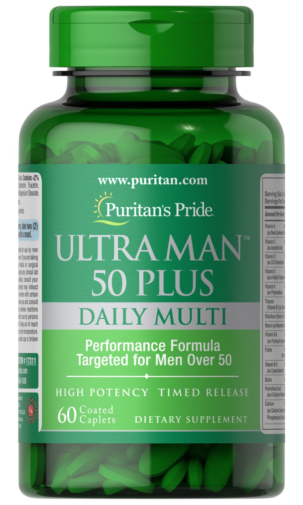 Ultra Vita Man™ 50 Plus • High performance multi with over 50 important nutrients for men's health**<br />• Created especially for men over 50<br />• Unlike other multis, Ultra Vita Man 50 Plus is enhanced with vital nutrients not commonly found in the diet.<br />• Just two coated caplets a day<br />• Features Zinc, an important mineral that contributes to normal semen production and sexual health** 60 Caplets  $6.79