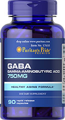 GABA (Gamma Aminobutyric Acid) 750 mg <p>Gamma-Aminobutyric Acid (GABA) is known for its importance in nervous system functioning and for working with the mood centers of the brain.** GABA is an amino acid naturally produced by the body that functions as a neurotransmitter in the central nervous system.** As a neurotransmitter, GABA's role is to support cellular function.**</p> 90 Capsules 750 mg $18.49