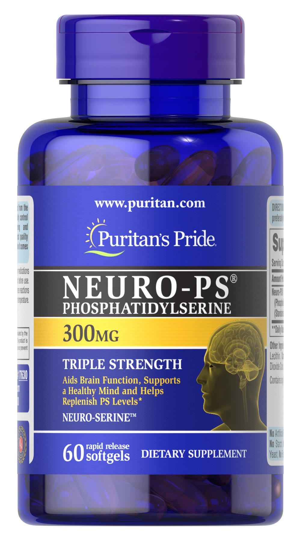 Neuro-PS 300 mg (Phosphatidylserine) <p>Phosphatidylserine (PS):</p><p>Aids Brain Function**</p><p>Supports a Healthy Mind**</p><p>Helps Replenish PS levels**</p><p>Very limited and preliminary scientific research suggests that PS may reduce the risk of cognitive dysfunction in the elderly. The FDA concludes that there is  little scientific evidence supporting this claim.</p><p>Available in 100, 200 and 300 milligram potencies<