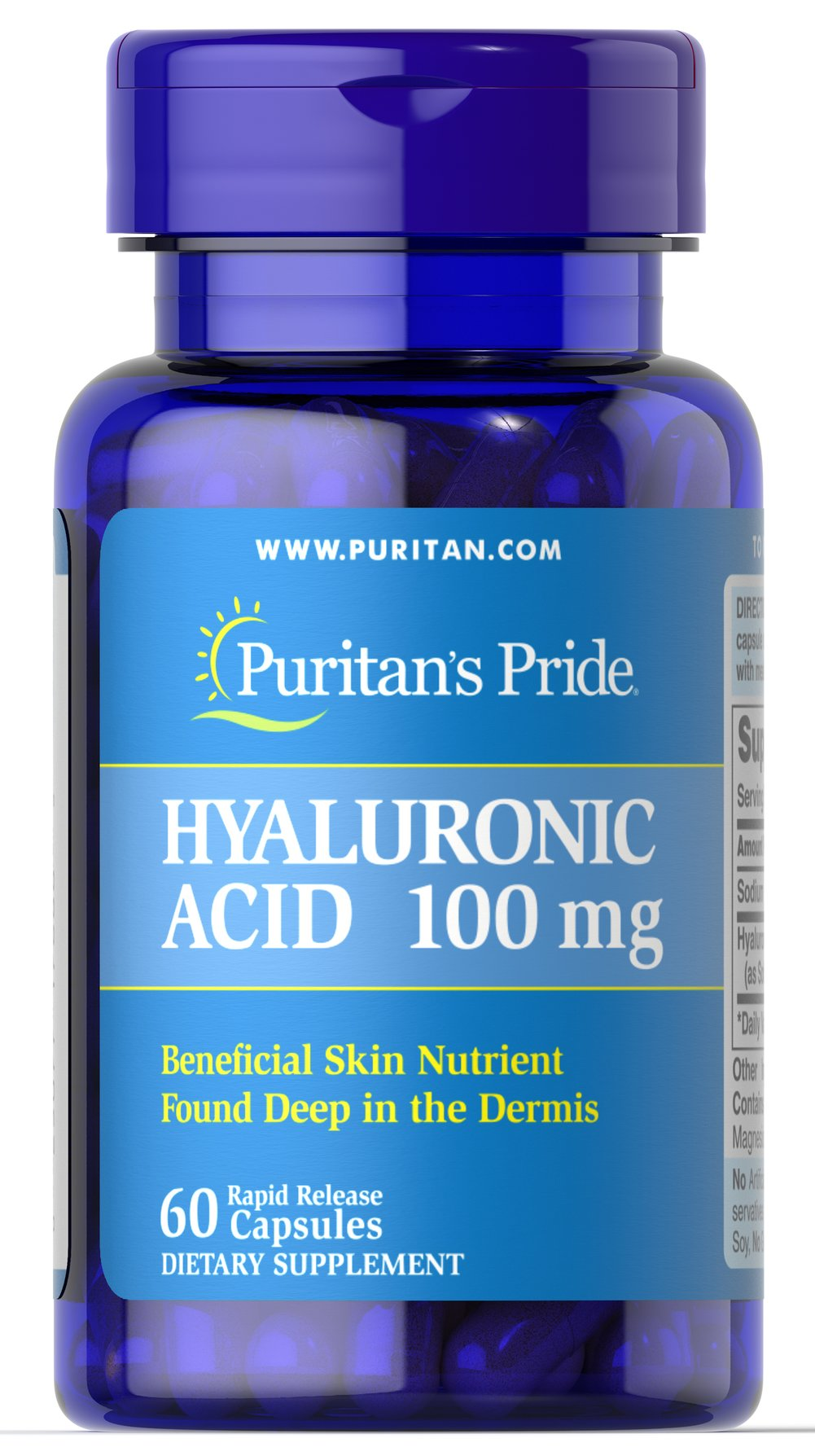 Hyaluronic Acid 100 mg <p>Helps lubricate joints**</p><p>Hyaluronic Acid is a polysaccharide found in almost all adult connective tissue, including joints, ligaments, tendons and skin.** Just one Hyaluronic Acid capsule a day can help maintain the fluid between your joints, providing the cushioning and lubrication necessary for easy movement.**</p> 60 Capsules 100 mg $42.99