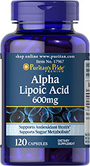 Alpha Lipoic Acid 600 mg <p>600 mg Alpha Lipoic Acid per capsule</p><p>Promotes antioxidant support**</p><p>Supports sugar metabolism**</p><p>At 600 mg per capsule, Puritan Pride's higher potency Alpha Lipoic Acid (ALA) helps support nerve, liver and antioxidant health — and helps to metabolize sugar in the body.** A coenzyme and powerful universal antioxidant, ALA helps fight cell damaging free radicals in the body.** </p> 120 Capsules 600 mg $46.