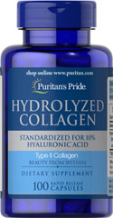 Hydrolyzed Collagen 400 mg <p>Promotes radiant skin, gleaming hair and strong nails**</p>  <p>Helps maintain body collagen**</p>  <p>Supplies high concentrations of the amino acids Glycine, Hydroxyproline and Proline</p>  <p>Collagen is a complex structural protein that nourishes your skin, hair and nails for a healthy appearance.** </p> 100 Capsules 400 mg $44.29