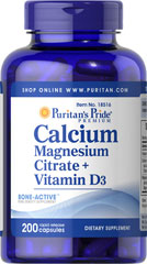 Calcium Magnesium Citrate plus Vitamin D <p>Calcium and Magnesium play essential roles in maintaining proper bone mineralization. Calcium and Magnesium are also involved in muscle contractions and nerve impulses.**</p> 200 Capsules  $24.69