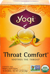 Organic Throat Comfort® Tea <p><strong>From the Manufacturer's Label:</strong></p><p>When you need a little comfort, drink a cup of this all organic herbal formula with Slippery Elm Bark and Mullein. Wild Cherry Bark as well as Licorice Root are added for sweet flavor. Throat Comfort is tasty and gentle, everyone can enjoy it! </p> 16 Tea Bags  $7.69