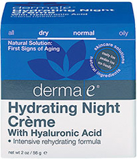 Derma E® Hyaluronic Acid Night Crème <p><strong>From the Manufacturer:</strong></p><p><strong>Intensive Rehydrating Formula</strong></p><p><strong>- An intensive, nourishing and hydrating crème</strong> especially formulated for night use, which combines Hyaluronic Acid with Vitamin A, Ester-C®, Allantoin and Panthenol to drench your skin in moisture.</p><p>- Hyaluronic Acid has an <strong>ama