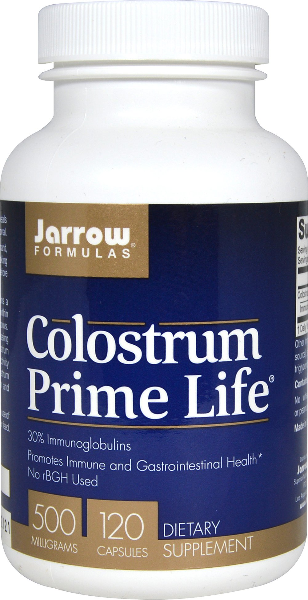 Colostrum Prime Life® 500 mg <p><strong>From the Manufacturer's Label:</strong></p><p>Jarrow Formulas® Colostrum Prime Life® contains a minimum of 35% immunoglobulins and is collected within 12 hours of calving from American, pasture-fed cows. The colostrum undergoes low-temperature processing along with testing to ensure that the different colostrum immunoglobulin fractions retain their biological activity and are not denatured.</p><p&gt