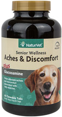 Senior Care Aches & Discomfort <b>From the Manufacturer's Label:</b>   <p>Formulated specifically for Senior Dogs with Time Release formula.  Helps alleviate aches and discomfort.</p>  60 Chewables  $13.49
