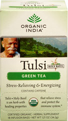Organic Tulsi Holy Basil Green Tea <p><strong>From the Manufacturer's Label:</strong></p><p>A harmonious blend of Tulsi and the finest Green Tea, simply accented with an aromatic lemon flavor lift from Tulsi.</p><p>Tulsi (also known as Holy Basil) makes a delicious and refreshing tea that possesses wonderful benefits.</p> 18 Tea Bags  $9.99