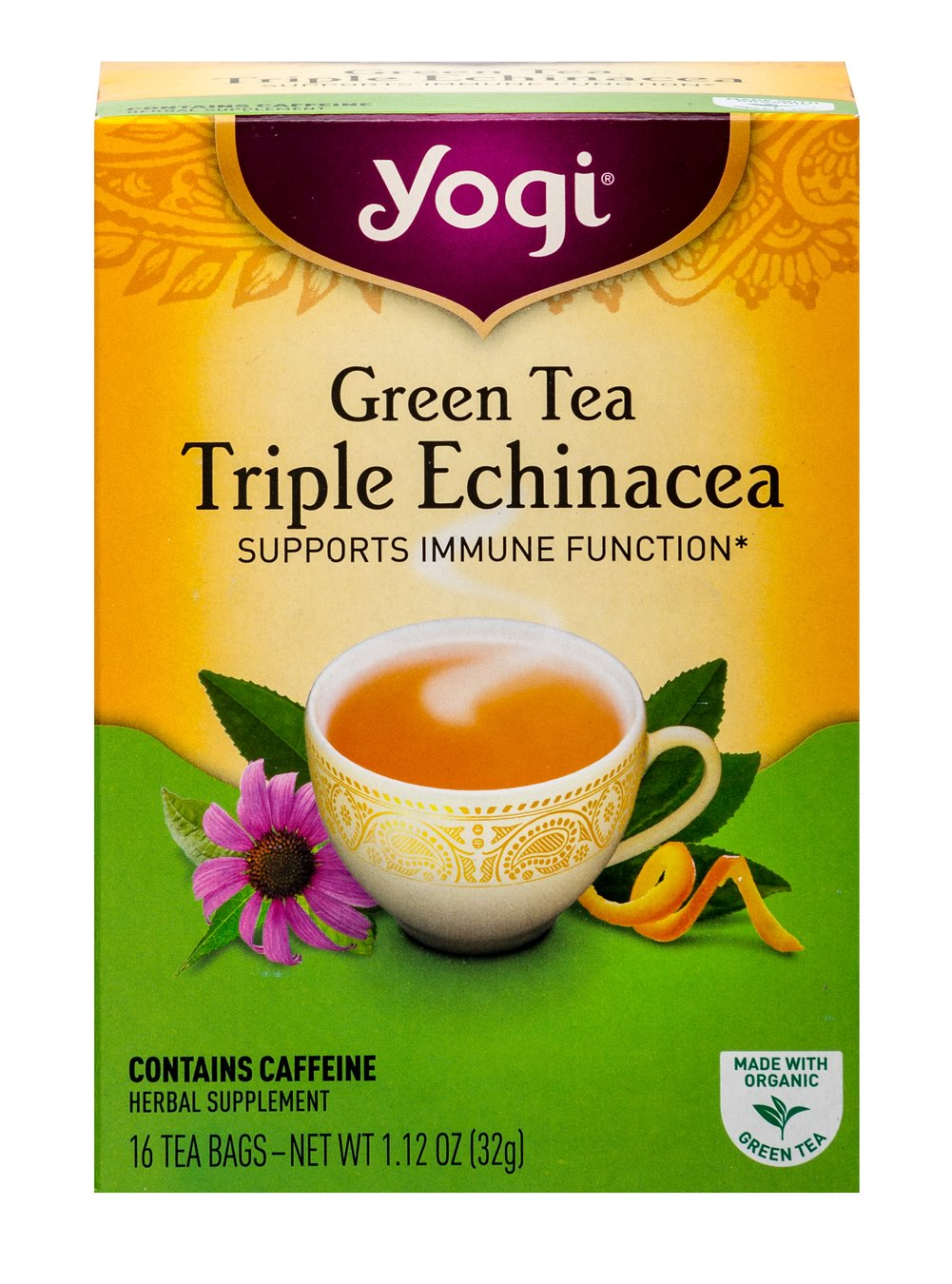 Green Tea Triple Echinacea with Elderberry <p><strong>From the Manufacturer's Label:</strong></p><p>Green Tea Triple Echinacea with Elderberry has added Elderberry. Lemongrass and Spearmint add a light, refreshing flavor.  Enjoy a cup of Green Tea Triple Echinacea with Elderberry to support your well-being.<br /></p> 16 Tea Bags  $7.49
