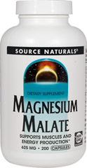 Magnesium Malate 425 mg <p>From the Manufacturer's Label:</p><p>Magnesium Malate is a compound of magnesium and malic acid. Malic acid is a natural fruit acid that is present in most cells in the body and is an important component of numerous enzymes key to ATP synthesis and energy production.   </p><p>Manufactured by Source Naturals</p><p></p> 200 Capsules 425 mg $10.99