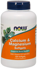 Calcium & Magnesium <strong>From the Manufacturer's Label:</strong> <p>Calcium & Magnesium Softgels contain Vitamin D and Zinc.  Manufactured by Now® Foods.</p> 120 Softgels  $8.99