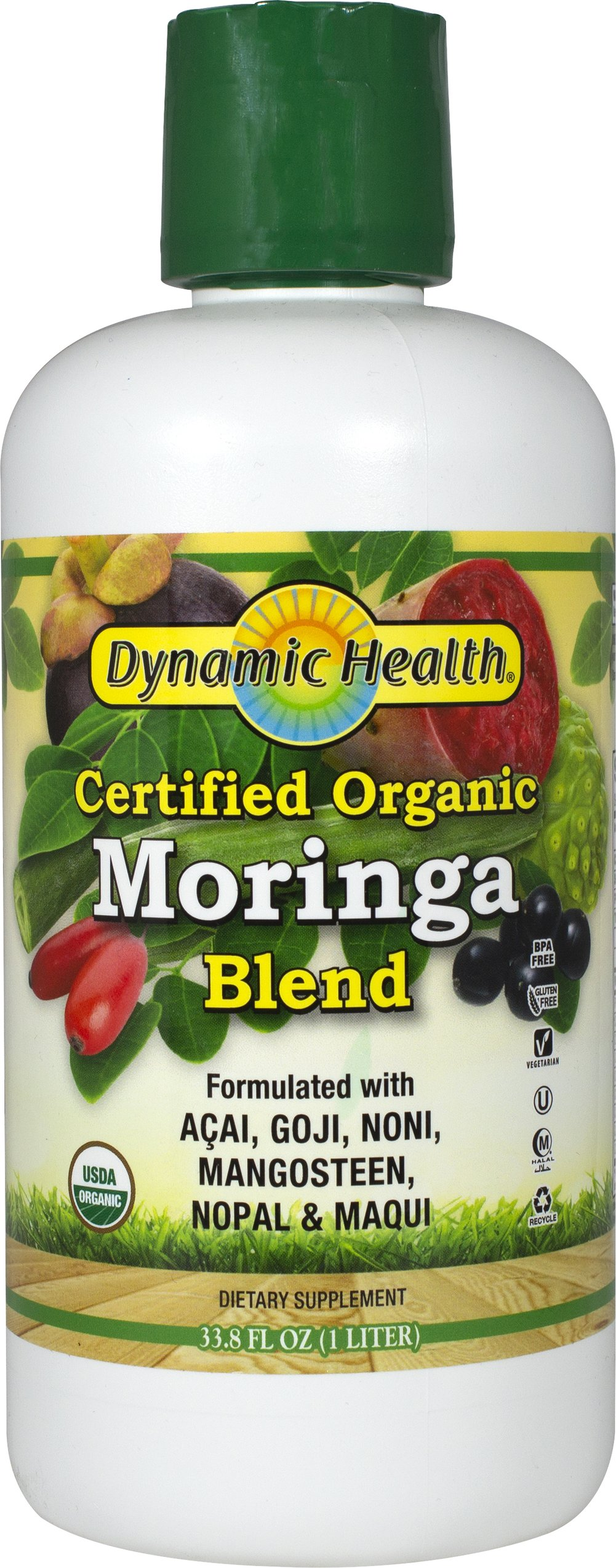 Organic Moringa Juice Blend <p><strong>From the Manufacturer's Label: </strong></p><p>Dynamic Health's Organic Moringa oleifera Juice Blend has natural energy boosting abilities.** The Moringa oleifera tree's leaves are nutrient dense in vitamins and minerals.** It is a tonic for good overall health.*</p><p>The antioxidant rich elixir offers the synergy of Certified Organic Maqui, Acai, Goji, Noni, Mangosteen and Nopal to promote healthy livi