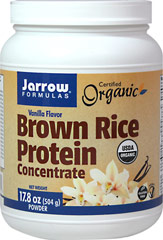 Brown Rice Protein Concentrate Vanilla <strong>From the Manufacturer's Label:</strong><br /><br />Jarrow Formulas Brown Rice Protein Concentrate, made from whole grain organic brown rice, is easily digested, gluten-free, hypoallergenic, and a vegetarian/vegan source of protein.  A special milling step produces a smooth texture that mixes easier and is less gritty than traditional rice protein preparations.<br /><br />Manufactured by Jarrow Formula