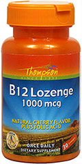 Vitamin B-12 1,000 mcg Lozenge From the Manufacturer's Label:<br /><br />Natural Cherry Flavor <br />Plus Folic Acid<br />30 Lozenges<br /><br />Manufactured by Thompson. 30 Lozenges 1000 mcg $1.99