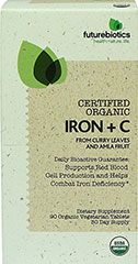 Certified Organic Iron + C  90 Tablets  $14.99
