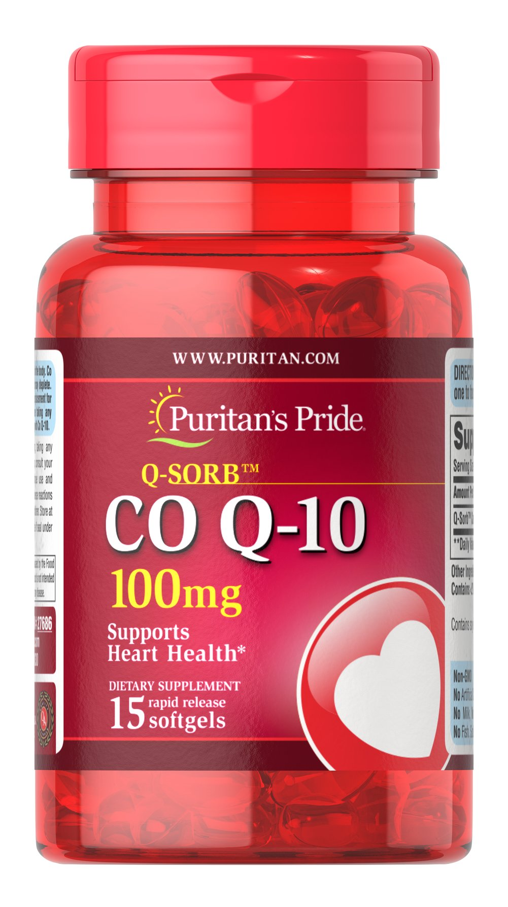 Co Q-10 100 mg <p>Puritan's Pride Q-Sorb™ Co Q-10 provides antioxidant support for your heart and ensures potency and purity.**</p><p>Our Q-Sorb™ Co Q-10 is hermetically sealed in rapid release softgels to provide superior absorption.   Contributes to your heart and cardiovascular wellness**</p><p>Helps support blood pressure levels already within a normal range**</p><p>   Promotes energy production within your heart, brain, and muscles**</p>  15 S