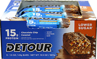 Low Sugar Bars Chocolate Chip Caramel 15 gram <p><b>From the Manufacturer's Label: </p></b>  <p>15 g Protein</p> <p>No Trans Fat</p> <p>50% less sugar than regular Detour® bars</p>  <p>Detour® Lower Sugar Bars deliver the same phenomenal taste as the Original – but with 50% less sugar! With 15 grams of high quality protein and just 5 grams of sugar, Detour® Lower Sugar Bars supply your body with the energy and n