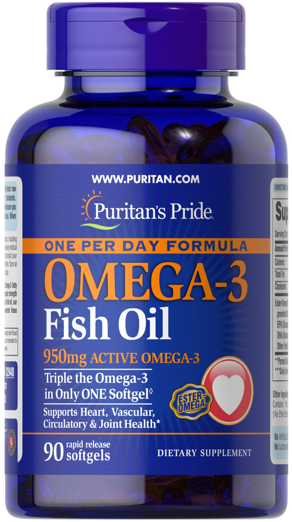 One Per Day Omega-3 Fish Oil 1360 mg (950 mg Active Omega-3)  90 Softgels 950 mg $23.99
