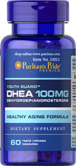 DHEA 100 mg <p>DHEA (Dehydroepiandrosterone) is made by the adrenal glands, which are located just above the kidneys and liver. Levels of DHEA can decline with age. Adults can take one capsule daily.</p> 60 Capsules 100 mg $17.99