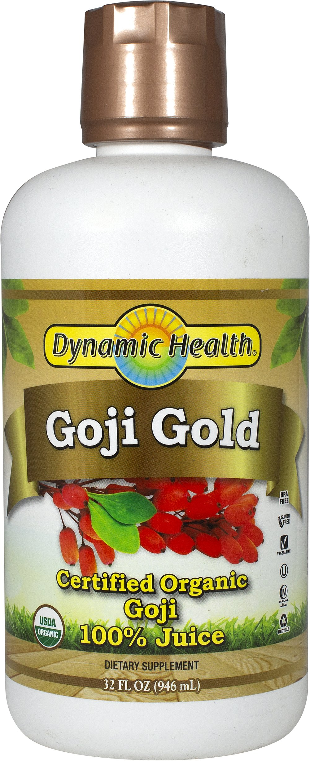 Organic Goji Gold 100% Pure Juice <p><strong>From the Manufacturer's Label: </strong></p><p>The berries of the Goji plant have been treasured for centuries by the Himalayan people. </p><p>These berries flourish in the tranquil valleys that are naturally protected by the Majestic Himalayan Mountains. </p><p>- GOJI GOLD™ is rich in naturally occurring anti-oxidant vitamins & minerals including: zinc, calcium, germanium, selenium, ph